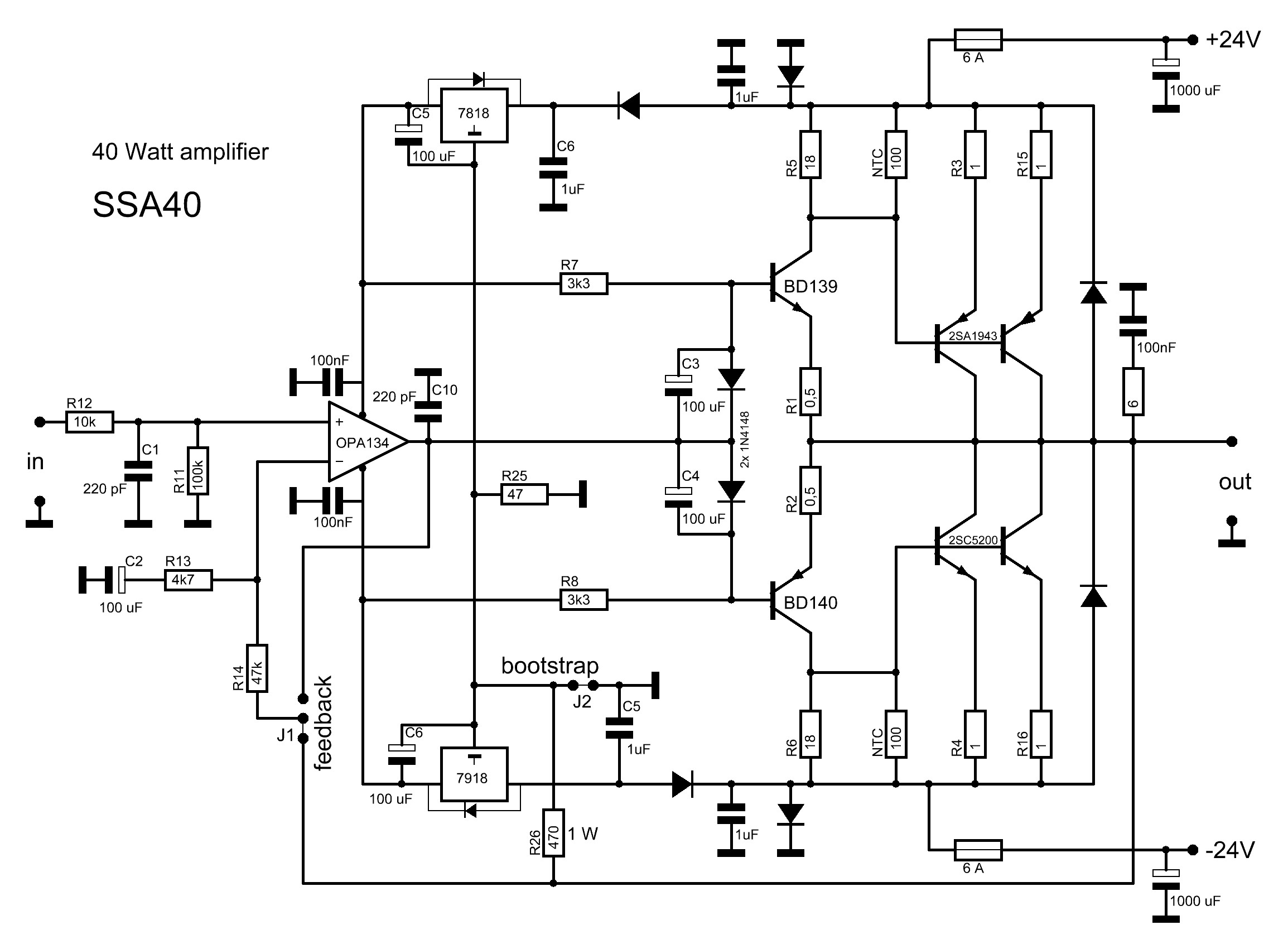 2sc5200 2sa1943 amplifier circuit